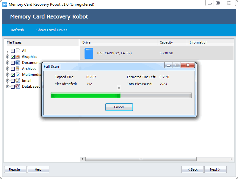 Click to view Memory Card Recovery Robot 1.1 screenshot