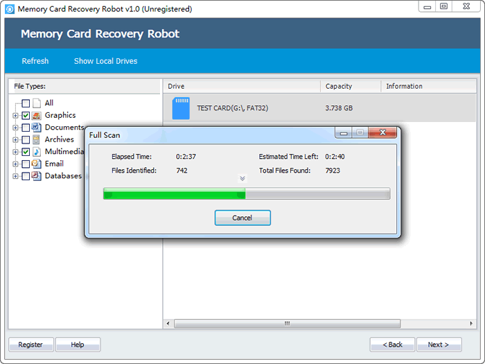 memory card recovery robot scan