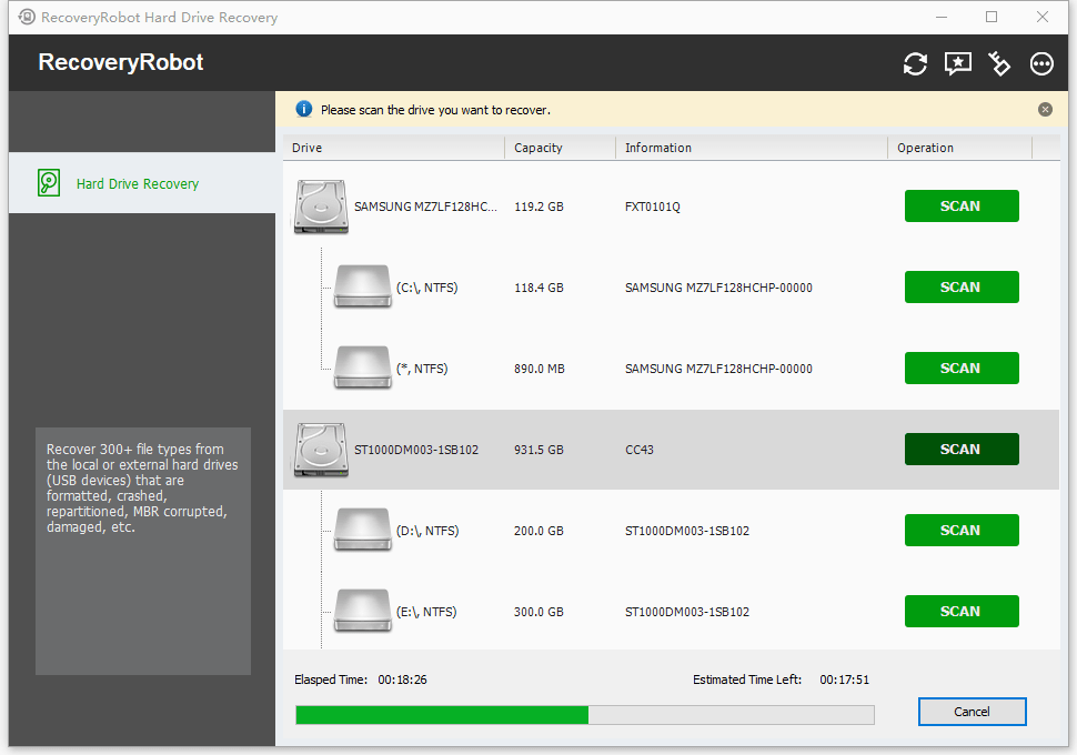 HDD Data Recovery Software  - Scan in progress