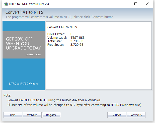 Convert FAT32 to NTFS - Confirm