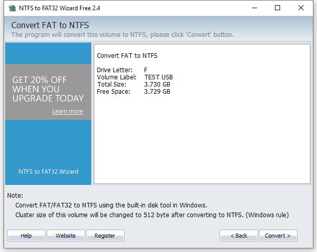 Convert FAT32 to NTFS - Confirm