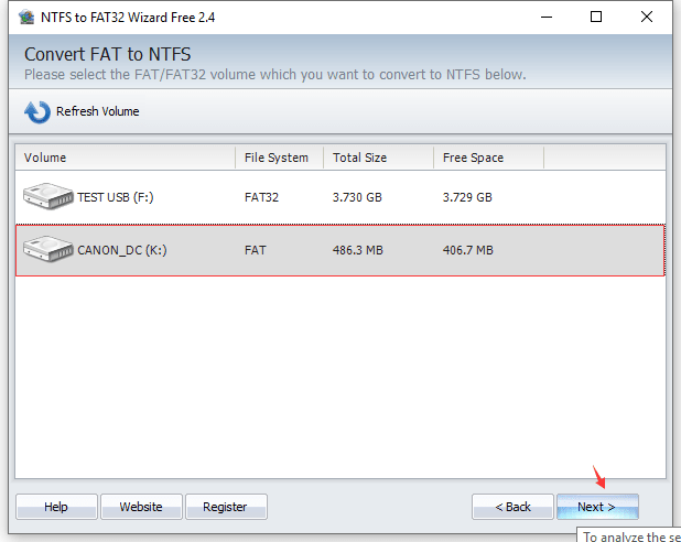 Convert FAT32 to NTFS - Select Partition