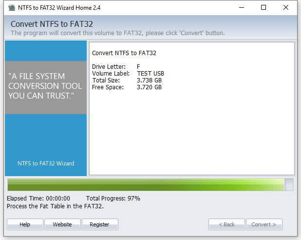 NTFS to FAT32 Wizard - Converting