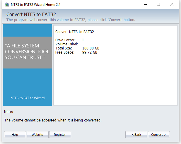 NTFS to FAT32 Wizard - Partition Details